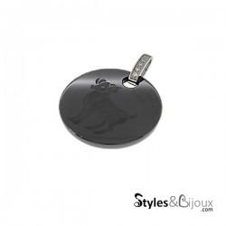 Pendentif signe astrologique Bélier en céramique noire orné de strass