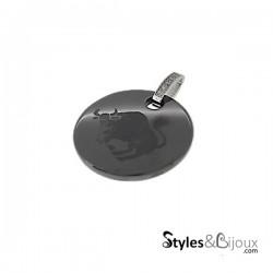 Pendentif signe astrologique Taureau en céramique noire orné de strass