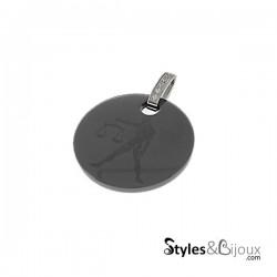 Pendentif signe astrologique Balance en céramique noire orné de strass
