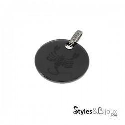 Pendentif signe astrologique Scorpion en céramique noire orné de strass