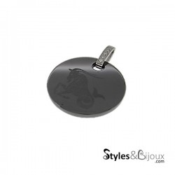 Pendentif signe astrologique Capricorne en céramique noire orné de strass