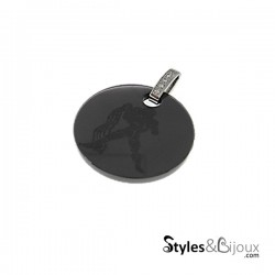 Pendentif signe astrologique Verseau en céramique noire orné de strass