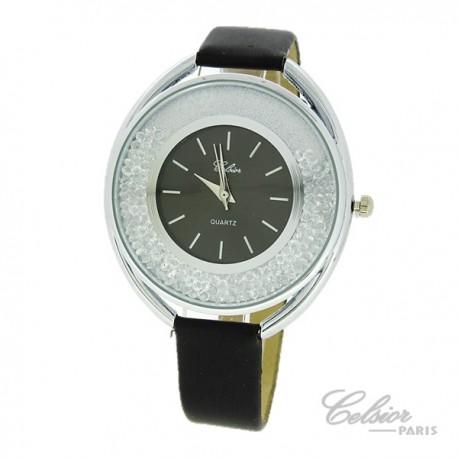 Montre Femme Strass Celsior Paris cadran noir