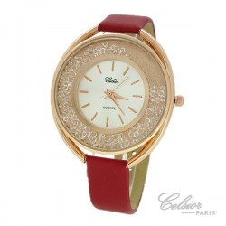 Montre Femme Strass Celsior Paris cadran rosé rouge