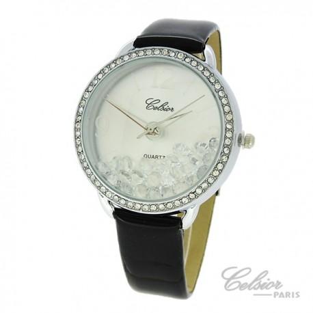 Montre Femme Celsior Paris Strass cadran argenté bracelet noir