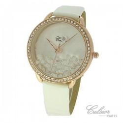 Montre Femme Celsior Paris Strass cadran rosé bracelet blanc