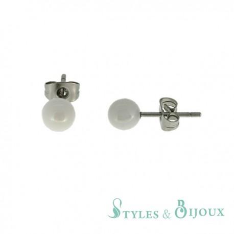 Boucles d'oreilles boules céramique et acier