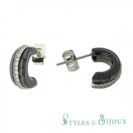Boucles d'oreilles demi créoles céramique strass