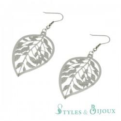 Boucles d'oreilles feuilles filigrane acier