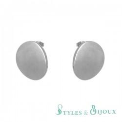 Boucles d'oreilles disque acier femme