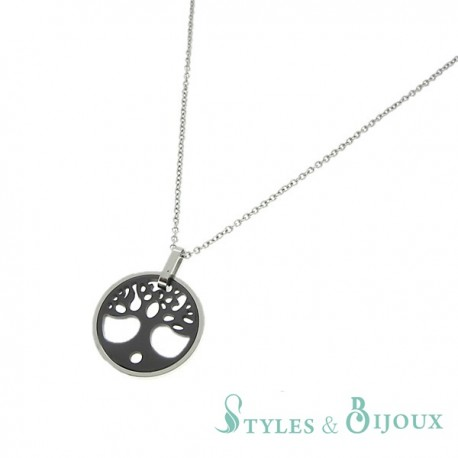 Collier arbre de vie en céramique et acier