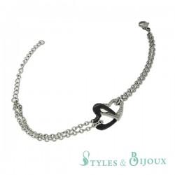 Bracelet cœurs entrelacés céramique et acier