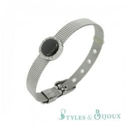 Bracelet maille milanaise orné de strass et d'un maillon en céramique
