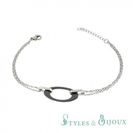 Bracelet maillon céramique noire