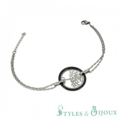 Bracelet arbre de vie acier céramique