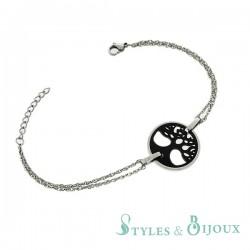 Bracelet arbre de vie en céramique et acier