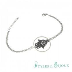 Bracelet main de Fatma en céramique et acier
