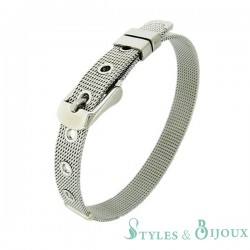 Bracelet Femme maille milanaise acier