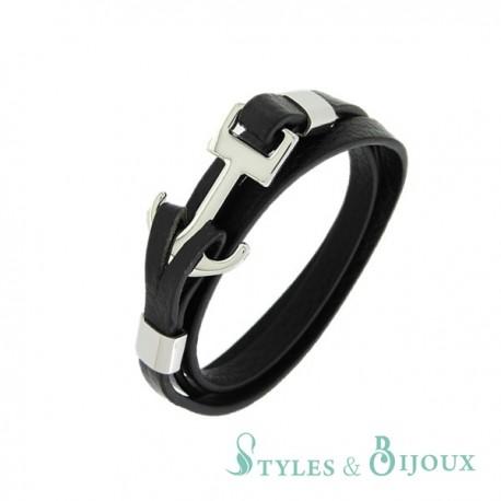 Bracelet ancre marine cuir et acier