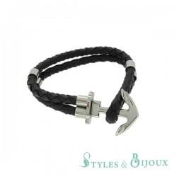 Bracelet cuir marin hameçon acier