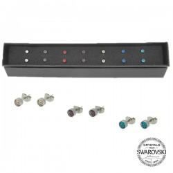 Coffret semainier boucles d'oreilles ornées de cristaux Swarovski