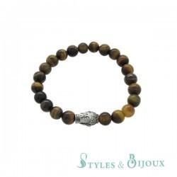 Bracelet Bouddha en pierre œil de tigre