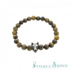 Bracelet tête de loup en pierre œil de tigre