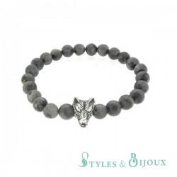 Bracelet tête de loup en pierre grise