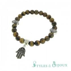 Bracelet main de Fatma en pierre œil de tigre