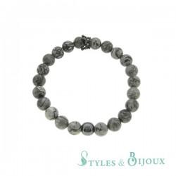 Bracelet couronne en pierre grise