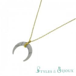 Collier pierre croissant de lune