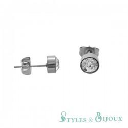 Boucles d'oreilles puces strass acier