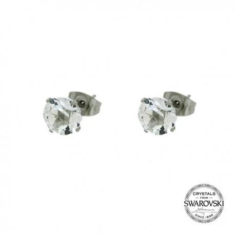 Boucles d'oreilles puces 4 griffes ornées de cristaux de Swarovski