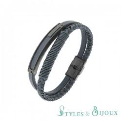 Bracelet cuir acier Homme