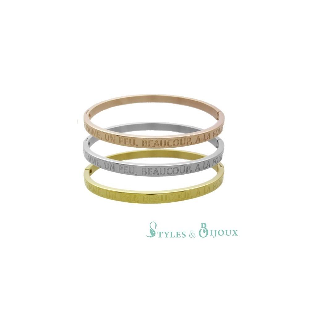 bracelet femme jonc message