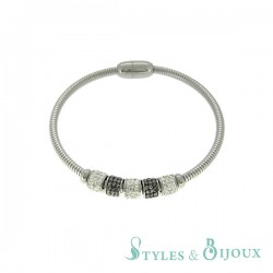 Bracelet acier rigide avec perles strass bicolore