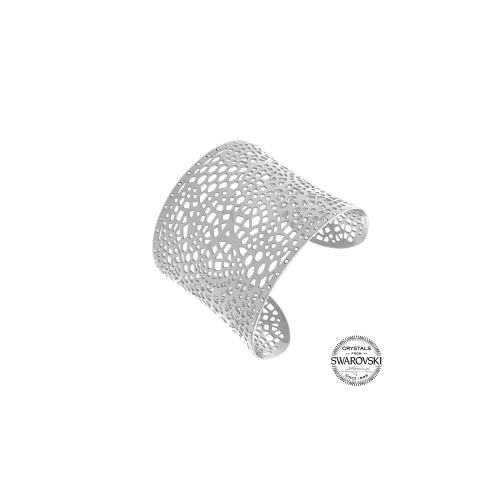 Bracelet manchette acier orné de Cristaux Swarovski | Bracelet Swarovski |  Styles & Bijoux
