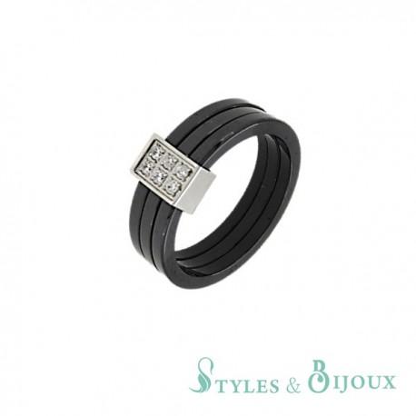 Bague céramique anneaux facettés ornée de strass