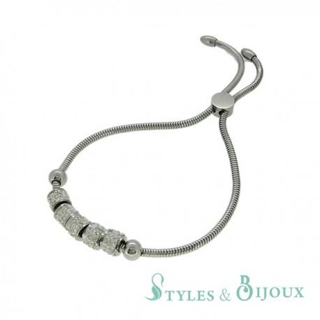 Bracelet acier souple réglable avec perles strass