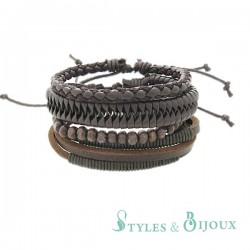 Bracelet lanières cuir Homme