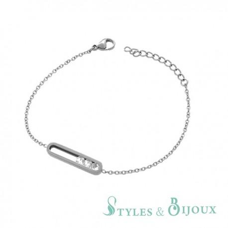 Bracelet strass acier
