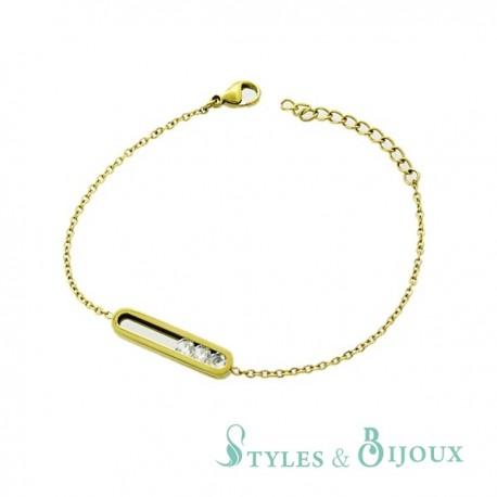 Bracelet strass acier doré
