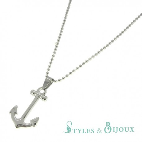 Collier pendentif ancre marine acier Homme