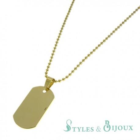 Collier plaque militaire acier doré Homme