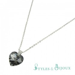 Collier cristal cœur gris