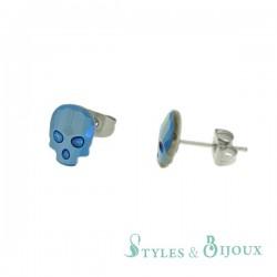 Boucles d'oreilles tête de mort en cristal bleu