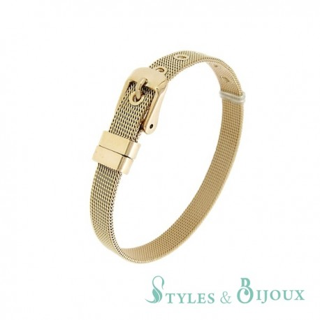 Bracelet Femme maille milanaise acier rosé