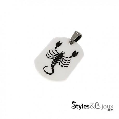 Pendentif signe du zodiaque céramique blanche Scorpion