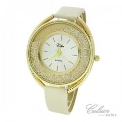 Montre Femme Strass Celsior Paris doré blanc