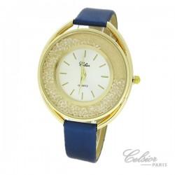 Montre Femme Strass Celsior Paris cadran doré bleu